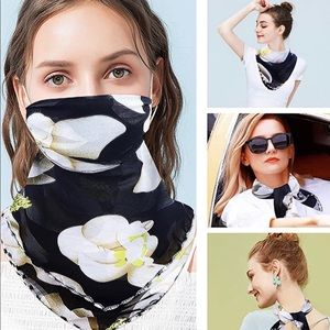 New black floral scarf gaiter face mask